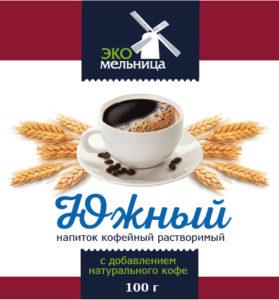 Напиток кофейный растворимый Южный с натуральным кофе 100 граммов